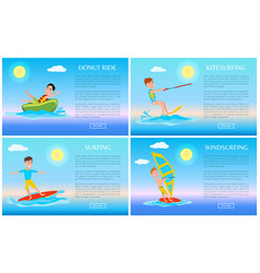 donut ride and surfing sport active rest banner vector image