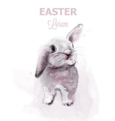 Easter bunny rabbit cute pet holiday card vector