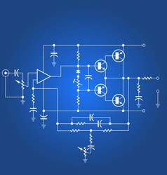 Electric circuit or electrical network on blue vector