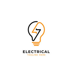 Electrical with bulb logo design templatemodern l vector