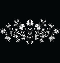 European folk floral pattern in in white on black vector image