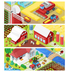 farm farming agriculture in fields and vector image