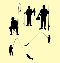 Fishing silhouette 03 vector