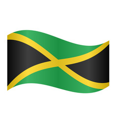 Flag of jamaica waving on white background vector