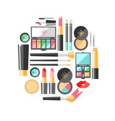 Flat cosmetics beauty fashion products dec vector