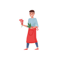 Florist holding small bunch flowers and green vector