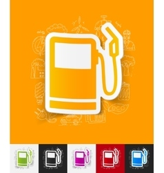 Gas station paper sticker with hand drawn elements vector