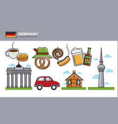 German travel destination promotional poster with vector