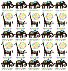 giraffes and elephants vector image