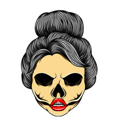 Glossy dead women with bunny hair mode vector