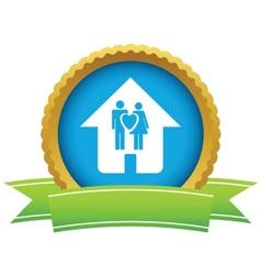 Gold love home logo vector image