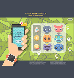 Gps game for phone hand holding mobile phone vector