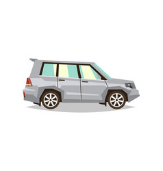 Gray car suv side view transport for travel gas vector