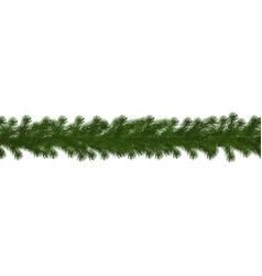 green christmas border of pine branch seamless ve vector image