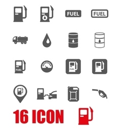 Grey gas station icon set vector