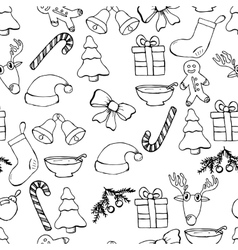 Hand drawn seamless christmas background Black vector