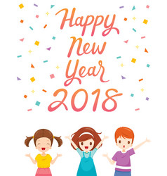 happy new year 2018 text with boy and girl vector image
