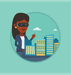 happy young woman wearing virtual reality headset vector image