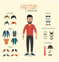 hipster character with hipster elements vector image