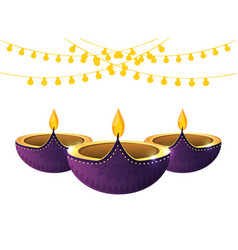 indian candles decoration vector image