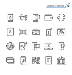 internet banking line icons editable stroke vector image