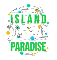Island Paradise Background with icons and vector image
