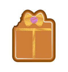 Isolated bitten gift box gingerbread vector