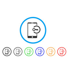 key login smartphone rounded icon vector image