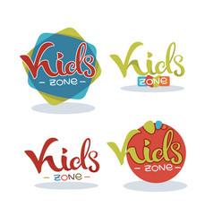 kids zone playful lettering logo composition vector image