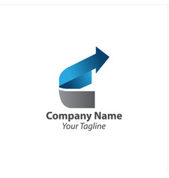 Latter c and growth arrow logo design template vector