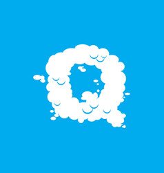 Letter q cloud font symbol white alphabet sign on vector