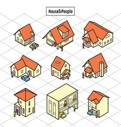 Litle house and people vector