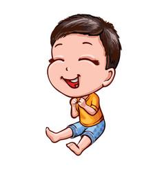 Little laughing boy with dark hair cartoon vector