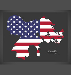 Louisville kentucky map with american national vector