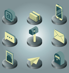 mail color isometric icons vector image