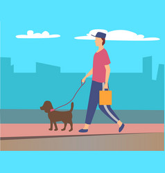 Man walking pet in city character with pet leash vector