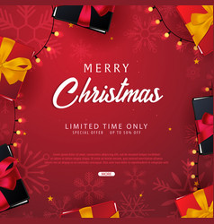 Marry christmas and happy new year banner on red vector