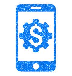 Mobile bank setup grunge icon vector