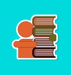 paper sticker on stylish background schoolboy vector image