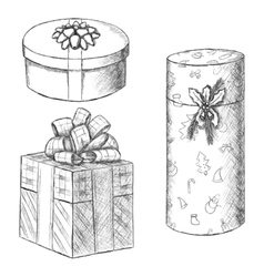 Pen vintage sketch - hand drawn gift boxes vector