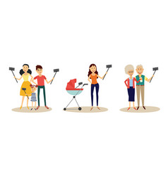people making selfie with smartphone and monopod vector image