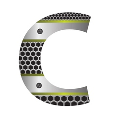 perforated metal letter C vector image