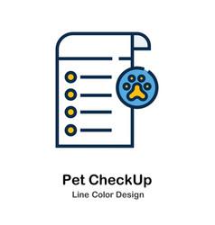 Pet checkup line color icon vector