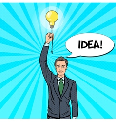 Pop Art Businessman with Lightbulb Idea vector image