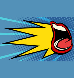 pop art female mouth scream vector image