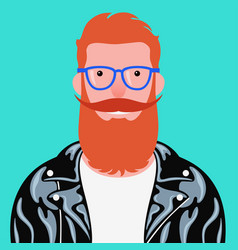 portrait bearded man in leather jacket vector image