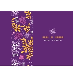 Purple and gold underwater plants frame horizontal vector