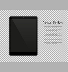 Realistic black tablet with blank screen isolated vector