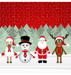 Santa Claus reindeer snowman and sheep vector