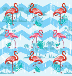 Seamless pattern with flamingoes vector
